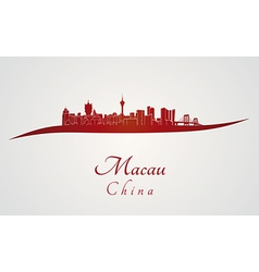 Macau skyline in red vector