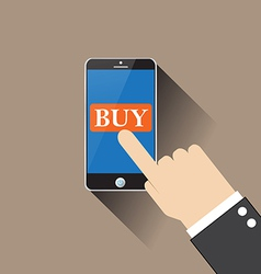 Hand buy on smartphone vector