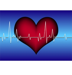 Red heart on blue with cardiogram vector