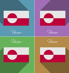Flags greenland set of colors flat design and long vector