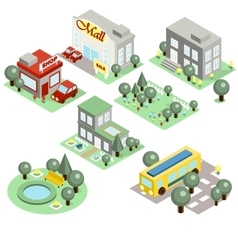Set of the isometric city vector