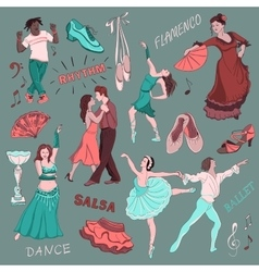 Colored hand drawn dance collection vector