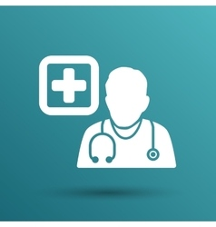 Doctor with stethoscope around his neck icon vector