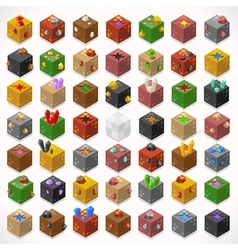 Mine cubes 02 elements isometric vector