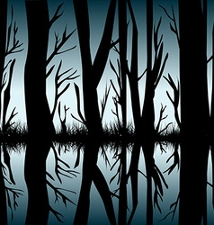 Trees reflecting in the water vector