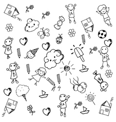 Doodle set of objects a funny vector