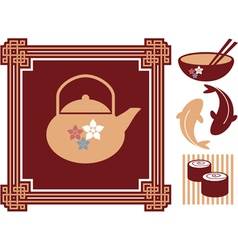 Oriental - japanese - food icons vector