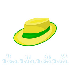 A man straw straw hat with a green ribbon yellow vector