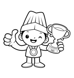 Black and white happy cook mascot selected as a vector