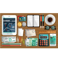 Business workplace with cup of coffee office thin vector