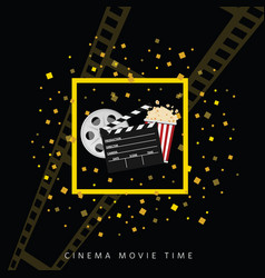 Cinema and movie time black background one vector