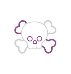 color line darger skull with bones to death symbol vector image vector image