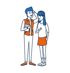 Couple students girl and guy character standing vector