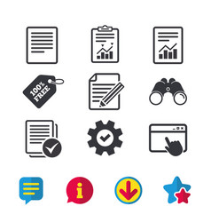 Document icons file with chart and checkbox vector