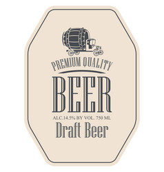 Draft beer label with truck car vector