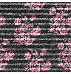 Eastern floral seamless print on striped denim vector