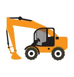 Excavator vehicle icon vector