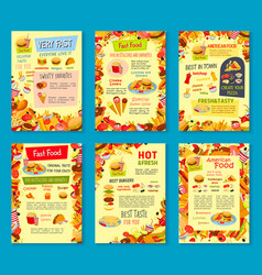 Fast food meals menu posters vector