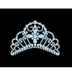 Feminine wedding diadem crown on black vector