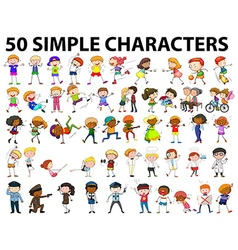 Fifty simple characters young and old vector