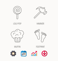 Footprint lolly pop and muffin icons vector