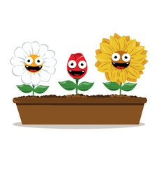 funny flowers vector image vector image