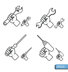 Hand tools icon set white background vector image vector image