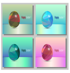 Happy easter cards set - 3d easter eggs with the vector