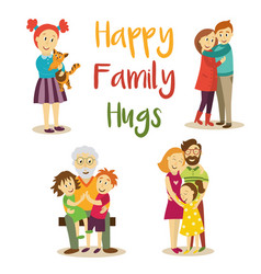 happy family members hugging cartoon set vector image vector image