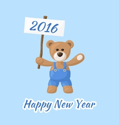 Happy New Year with Teddy Bear vector image vector image