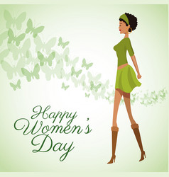 Happy womens day card beauty girl green dress vector