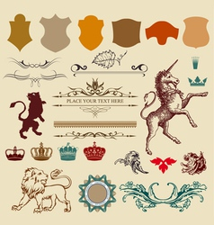 Heraldry design elemants vector
