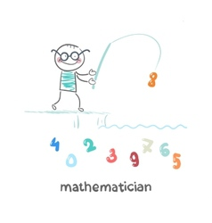 mathematician catches a fishing pole figures vector image vector image