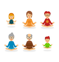 Meditation people cartoon character isolated on vector