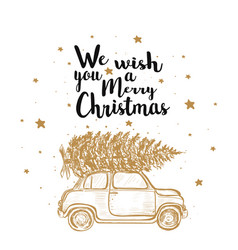 merry christmas fir tree by car vector image