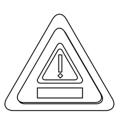 Monochrome contour with triangles with exclamation vector