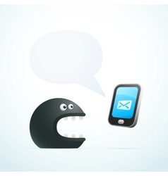 monster talking on the phone vector image
