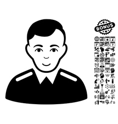 Officer flat icon with bonus vector