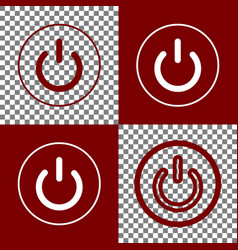 On off switch sign bordo and white icons vector