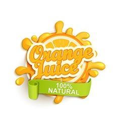 Orange juice natural label splash vector image vector image