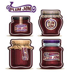 Plum jam in glass jars vector