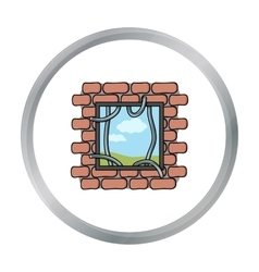Prison escape icon in cartoon style isolated on vector
