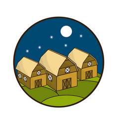 Round symbol farms at night with the moon vector