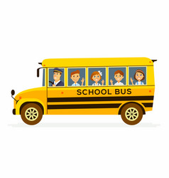 school bus - characters of happy students in a vector image vector image