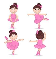 set of isolated girl ballerina vector image