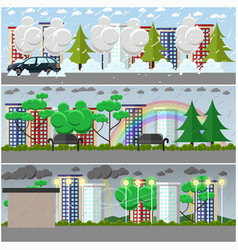 Set of weather posters banners in flat vector