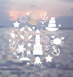 Set sea icons on seascape background vector image