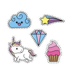 Set unicorn with rainbow and cloud design vector