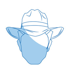 Silhouette man cowboy wear hat image vector