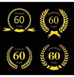 sixty years anniversary signs laurel gold wreath vector image